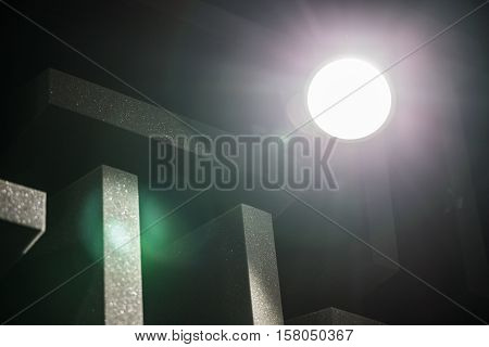 Background of studio sound dampening acoustical foam and LED light. Music room. Soundproof room. Low key photo. stock photo
