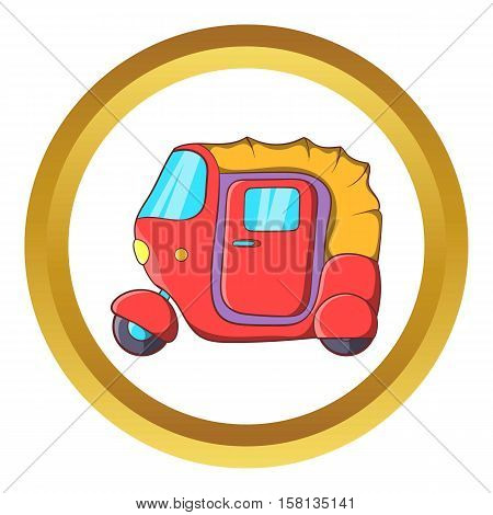 Auto rickshaw vector icon in golden circle, cartoon style isolated on white background stock photo
