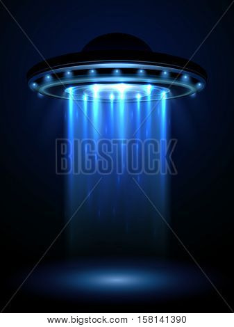 Aliens ufo, interstellar spaceship vector illustration. Ufo in form plate or saucer, interstellar spaceship ufo stock photo
