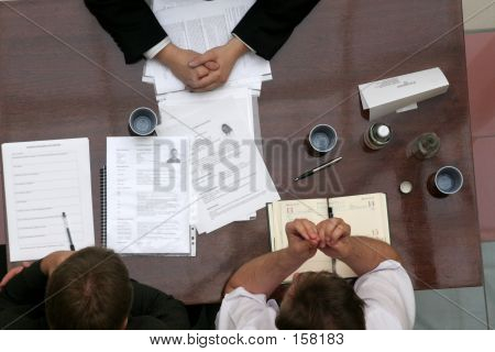 negotiations over the desk stock photo