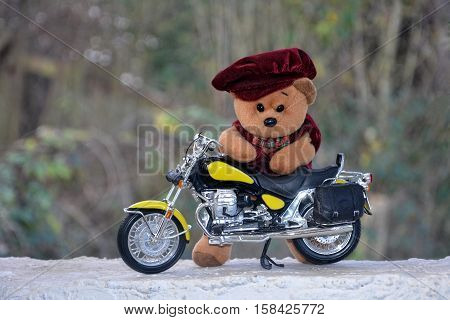 Teddy Bär with cap stands behind a motorcycle outside stock photo