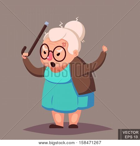 Angry Old Woman Brandishing Her Cane. Senior lady with glasses shouting stock photo