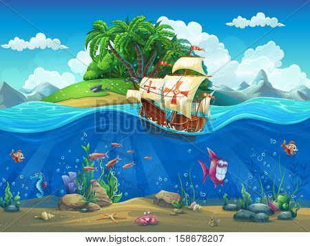 Undersea world with island and sailing ship. Marine life landscape - the ocean and the underwater world with different inhabitants. For design websites and mobile phones printing.