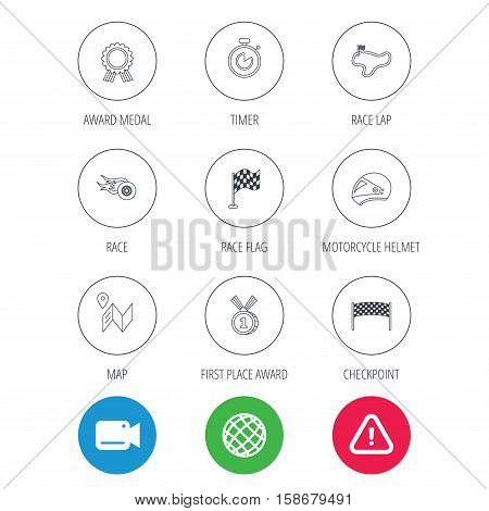 Race flag and speed icons. Winner medal, motorcycle helmet and timer linear signs. Map navigation flat line icons. Video cam, hazard attention and internet globe icons. Vector stock photo