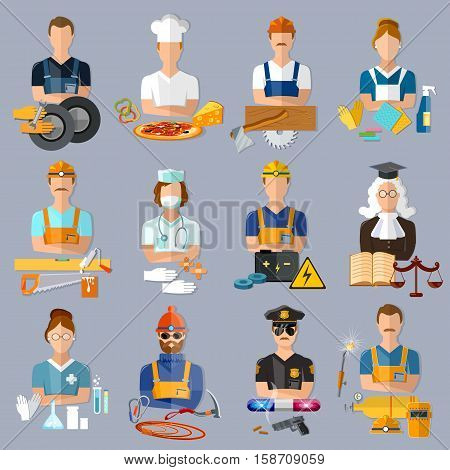 Collection professions. Auto mechanic cook carpenter laundress electrician judge doctor pharmacist climber policeman welder vector illustration. Profession people and avatars collection. stock photo