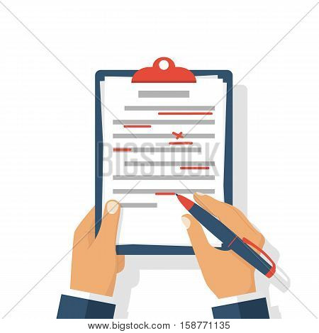 Editing documents to correct errors. Proofreader checks transcription written text. Clipboard and red pen in hands of men. Spell check. Vector illustration flat design. Isolated on white background. stock photo