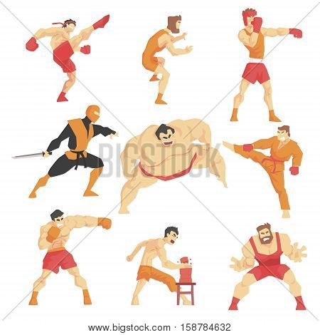 Martial Arts Fighters Demonstrating Different Technique Kicks Set Of Asian Fighting Sports Professional In Traditional Fighting Outfits Sportive Clothing. Fun Geometric Cartoon Collection Of Characters Doing Taekwondo, Karate, Sumo And Other Oriental Figh