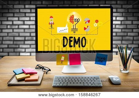 DEMO (Demo Preview Ideal) Trial Ideal and Demo Preview stock photo