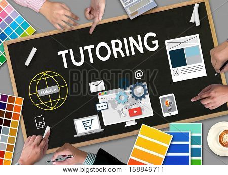 TUTORING Tutor and his online education Teaching Tutoring Learning Education Teacher Tutor Coach Management stock photo