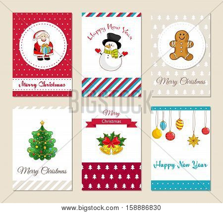 Christmas greeting cards and Xmas party invitations set. Colorful Merry Christmas and Happy New Year concepts with Santa, snowman, gingerbread cookies, Christmas tree, bells, toys vector illustrations stock photo