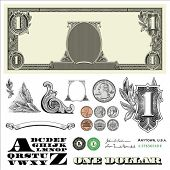 Set of point by point vector adornments inexactly based off an one dollar bank note, incorporates ve