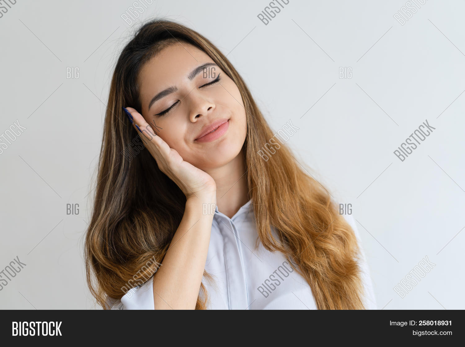 Asian,adult,attractive,beautiful,break,brown-haired,business,calm,closed,closeup,concept,content,customer,dream,eye,female,formal,front,gesture,girl,hand,isolated,lady,leaning,lovely,making,mixed,one,overwork,peaceful,person,portrait,pretty,race,relaxation,relaxing,rest,serene,serious,shirt,sleep,sleeping,sleepy,smiling,studio,tired,twenty,woman,worker,young