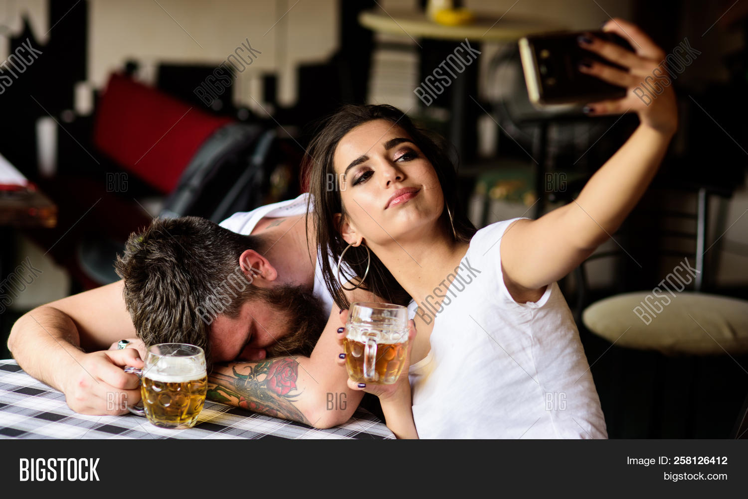 Take Selfie To Remember Great Event. Woman Making Fun Of Drunk Friend. Girl Taking Selfie Photo Drun