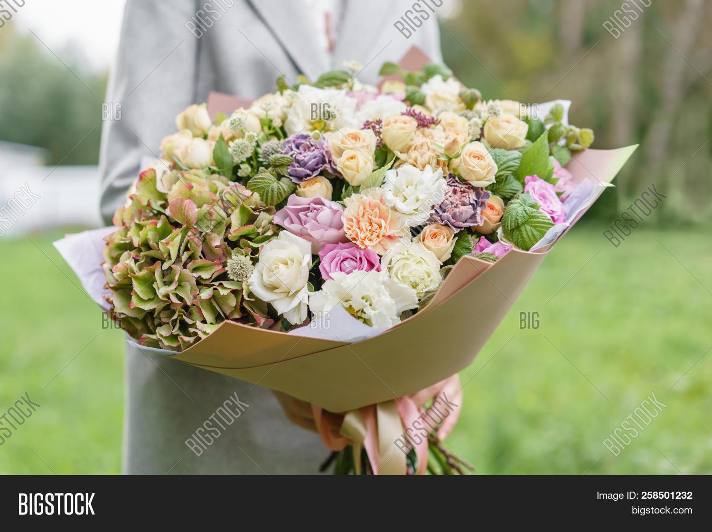 Beautiful Spring Bouquet In Hands Delicate Flower Arrangement