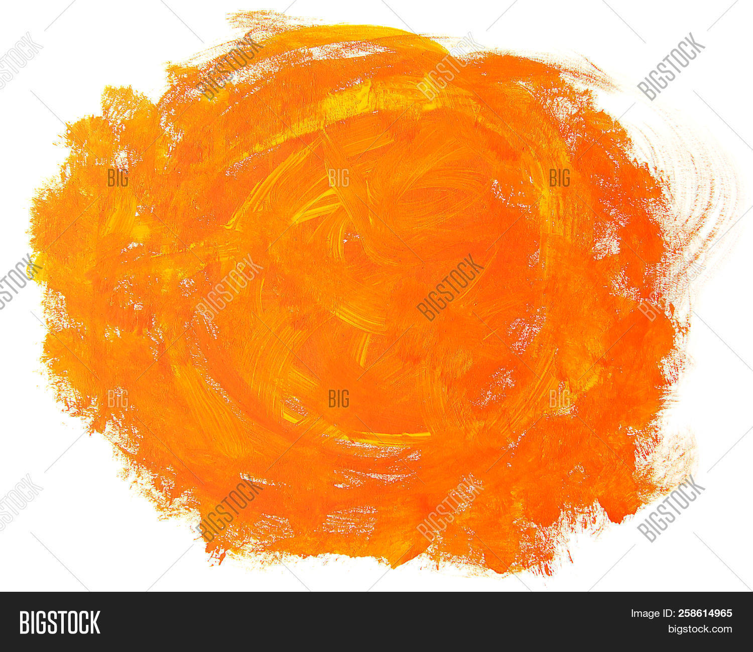 Abstract Orange Painting Isolated On White Background