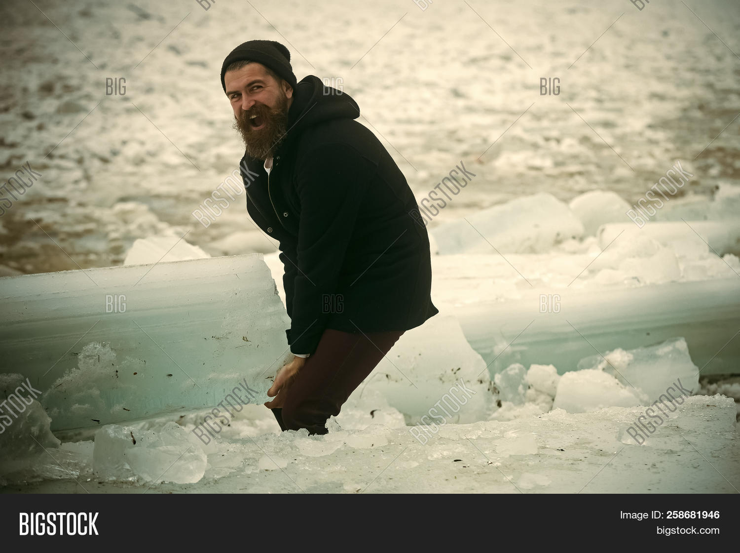 Winter Holiday And Activity. Cracked Ice At Hercules Guy In ...