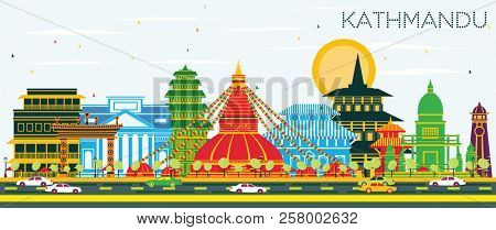 Kathmandu Nepal City Skyline with Color Buildings and Blue Sky. Business Travel and Tourism Concept with Historic Architecture. Kathmandu Cityscape with Landmarks. stock photo