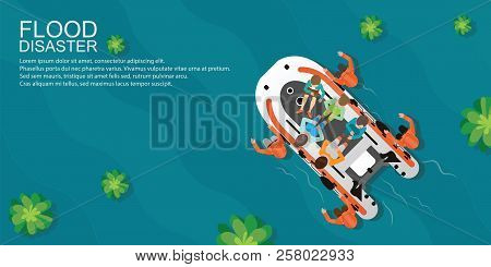 Top view of rescue team helping people by pushing a boat through flooded water, Boat rescue vector illustration. stock photo