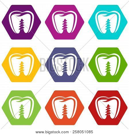 Denture implant icons 9 set coloful isolated on white for web stock photo