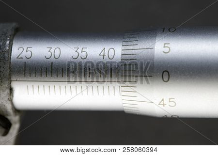 Micrometer, measuring scale close-up in sunny day stock photo