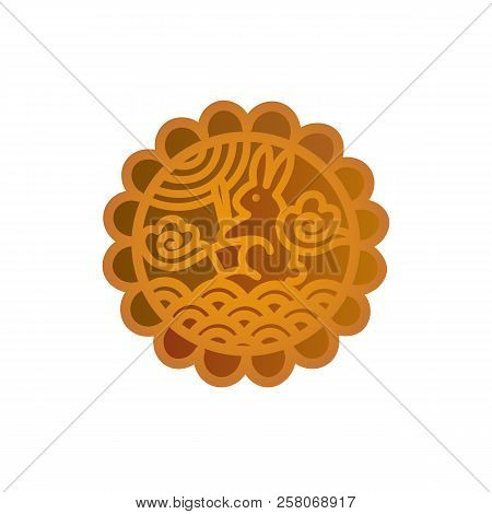 Mooncake icon design. Chinese Mid-Autumn Festival symbol with a lunar rabbit. Moon cake vector illustration isolated on white. stock photo