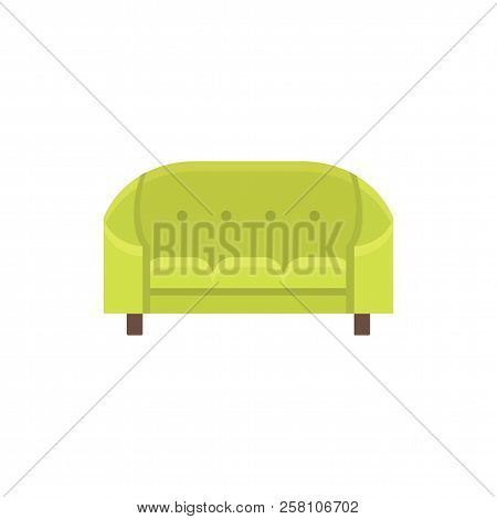 Green cabriole. Tufted vintage sofa. Vector illustration. Flat icon of settee. Element of retro home & office furniture. Front view. stock photo