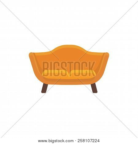 Orange loveseat. 2 seaters sofa. Vector illustration. Flat icon of settee. Element of modern home & office furniture. Front view. stock photo