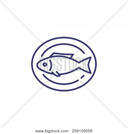 Cooked fish on plate line icon. Roast fish, dinner, seafood. Restaurant concept. Vector illustration can be used for topics like food, cooking, menu stock photo
