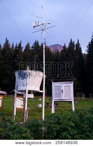 Old meteorogical weather station in the mountain stock photo