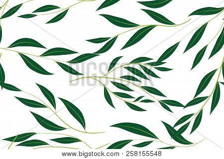 Hand Drawn Eucalyptus Seamless Pattern. Vintage Background with Beautiful Vector Eucalyptus Palm Fern, Green Leaves, Tropical Foliage. Eucalyptus Seamless Pattern for Wedding Design, Textile, Print. stock photo