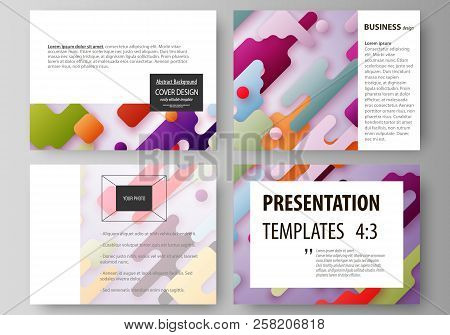 Business templates for presentation slides. Abstract vector design layouts. Bright color lines and dots, colorful minimalist backdrop with geometric shapes forming beautiful minimalistic background. stock photo