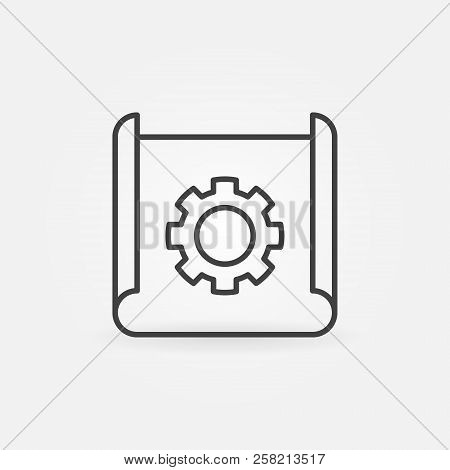 Technical documentation thin line icon. Vector paper with cogwheel concept symbol in thin line style stock photo