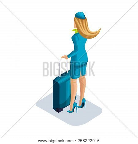Isometric girl stewardess with things and suitcase stands at the airport, waiting for her flight. Rear view, uniform shoes. stock photo
