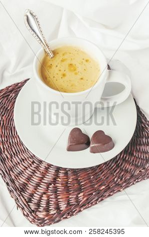 Coffee in bed. Selective focus. Love drink. stock photo