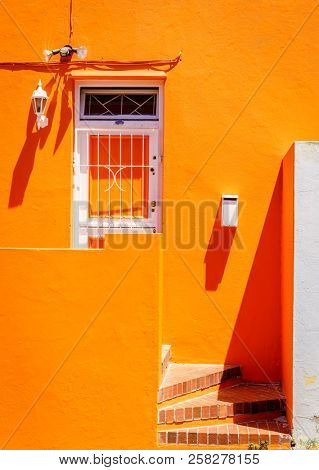 House facade details in Bo-Kaap area of Cape Town, South Africa stock photo