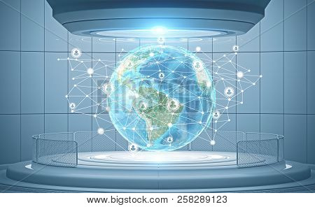 Earth with polygons on it and white people network icons in futuristic interface. Future of hr and global world concept 3d rendering toned image double exposure Elements of this image furnished by NASA stock photo