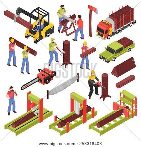 Lumberjack isometric icons set of workers sawing trees and logs with hand saw and  saw frame equipment isolated vector illustration stock photo