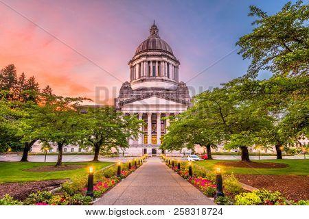 Olympia, Washington, USA state capitol building at dusk. stock photo