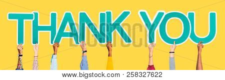 Hands holding the words thank you stock photo