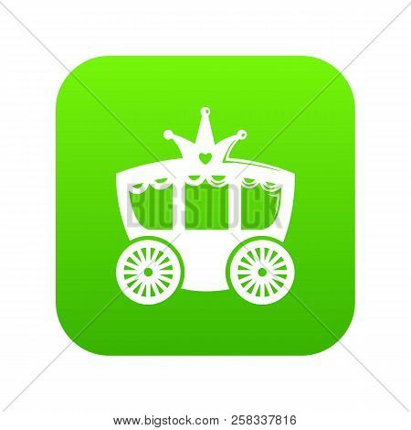 Carriage icon green isolated on white background stock photo