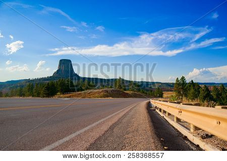Devils Tower is located in in Crook County, northeastern Wyoming. Also, known as United States National Monument. stock photo