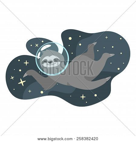 Vector cartoon style illustration of cute sloth character floating in cosmic space, isolated on white background. Print for t-shirt or poster design. stock photo
