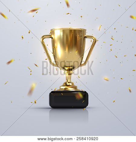 Golden Champion Cup Isolated On White Background. Vector Realistic 3d Illustration. Championship Tro