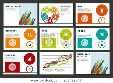Business company presentation with infographics. Business presentation. Can be used for corporate design media layout, flyer, brochure, forum, conference, annual report for advertising and marketing stock photo