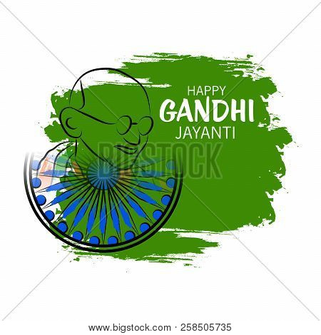 illustration of a background for Happy Gandhi Jayanti. stock photo