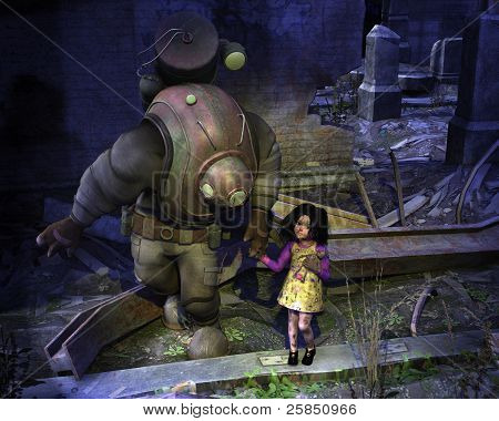 Cute little waif of a girl being escorted through the ruins of war. Clipping path included. stock photo