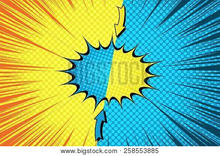 Comic fight bright concept with separated speech bubble arrows rays halftone humor effects in blue and yellow colors. Vector illustration stock photo