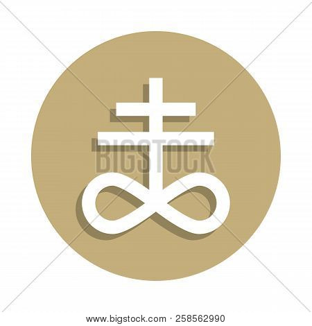 Satanism Leviathan cross sign icon in badge style. One of religion symbol collection icon can be used for UI, UX stock photo