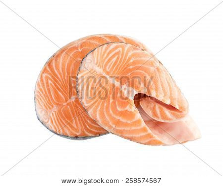 Raw Pink Salmon Steak, Red Fish, Chum or Trout Fillet Cut Out stock photo