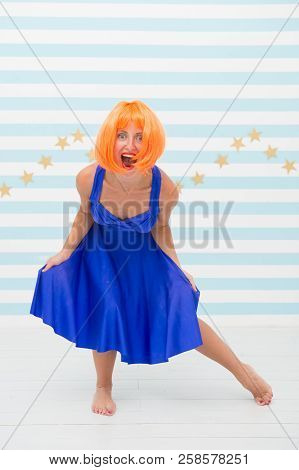 Happy girl with crazy look. happiness is my life. Fashion girl with emotional face. I am crazy about fashion. Do what makes you happy. going crazy stock photo